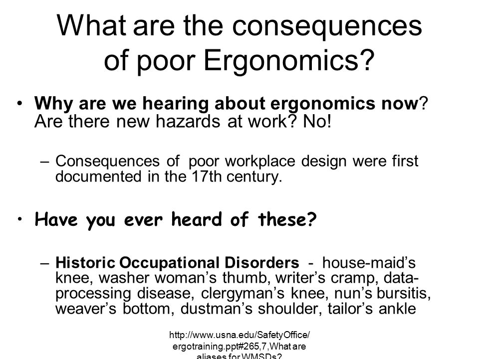 What are the consequences of poor Ergonomics