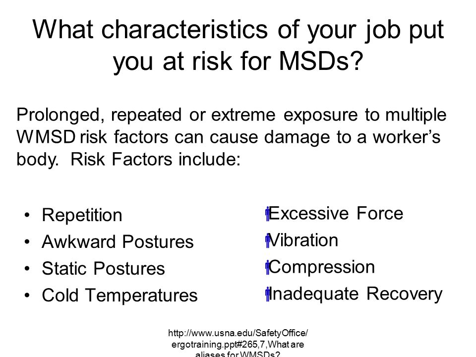 What characteristics of your job put you at risk for MSDs
