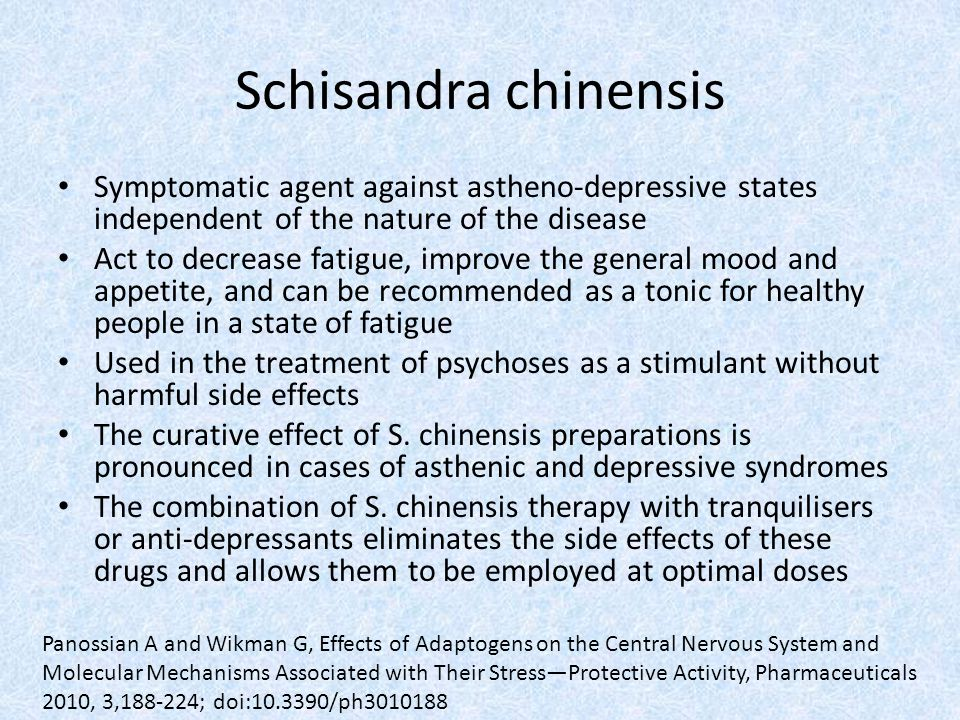 Schisandra chinensis Symptomatic agent against astheno-depressive states independent of the nature of the disease.