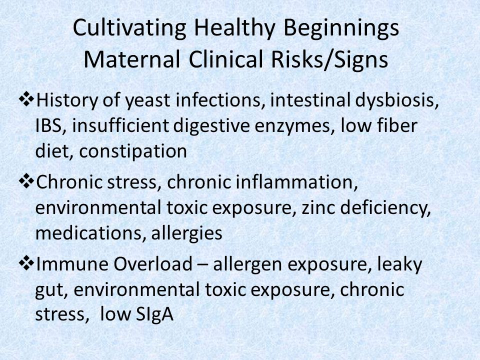 Cultivating Healthy Beginnings Maternal Clinical Risks/Signs
