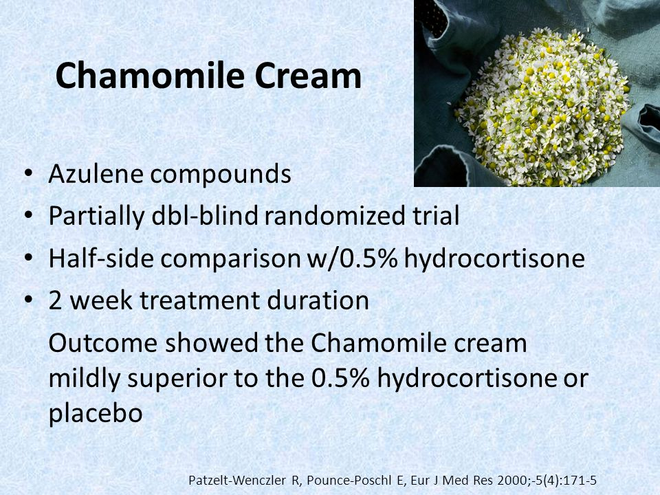 Chamomile Cream Azulene compounds Partially dbl-blind randomized trial