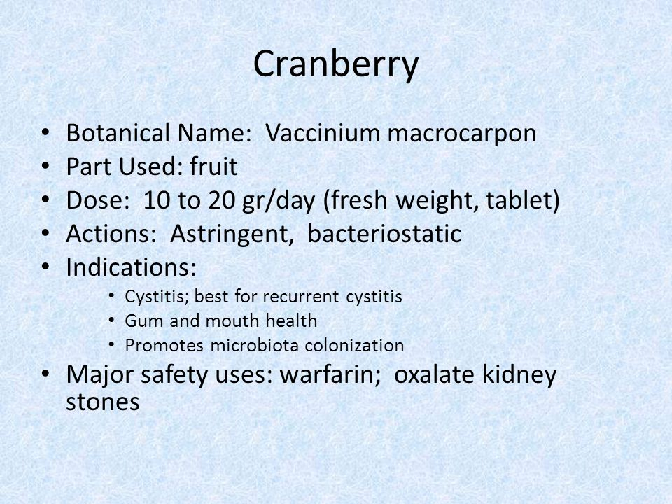 Cranberry Botanical Name: Vaccinium macrocarpon Part Used: fruit