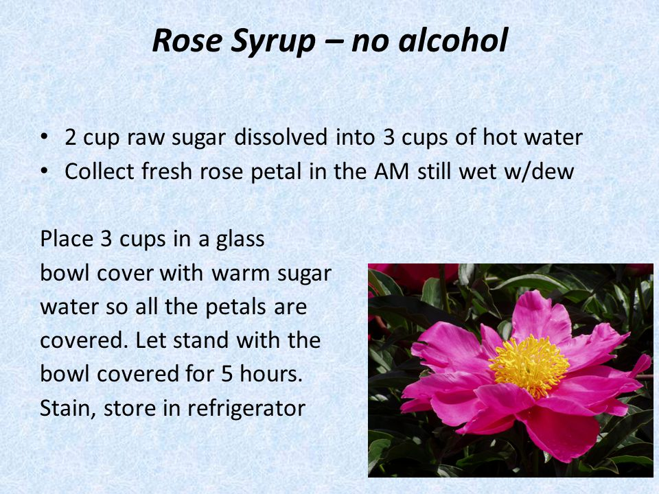 Rose Syrup – no alcohol 2 cup raw sugar dissolved into 3 cups of hot water. Collect fresh rose petal in the AM still wet w/dew.