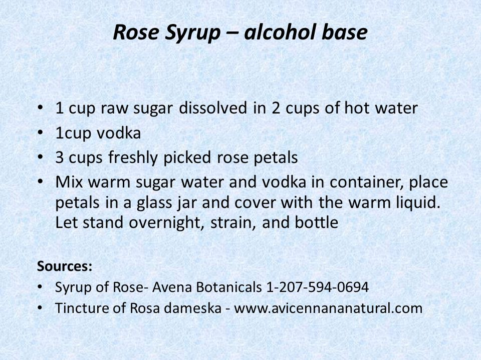 Rose Syrup – alcohol base