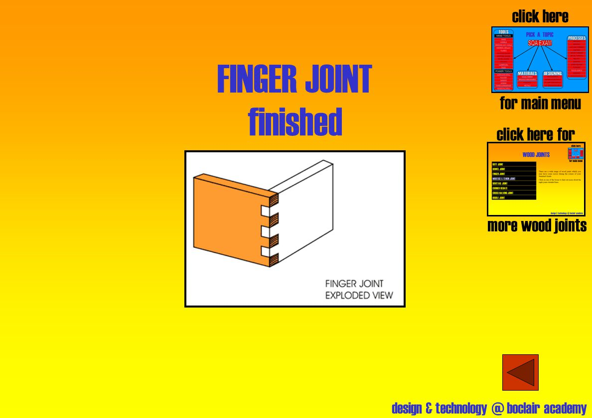 FINGER JOINT finished click here for main menu click here for