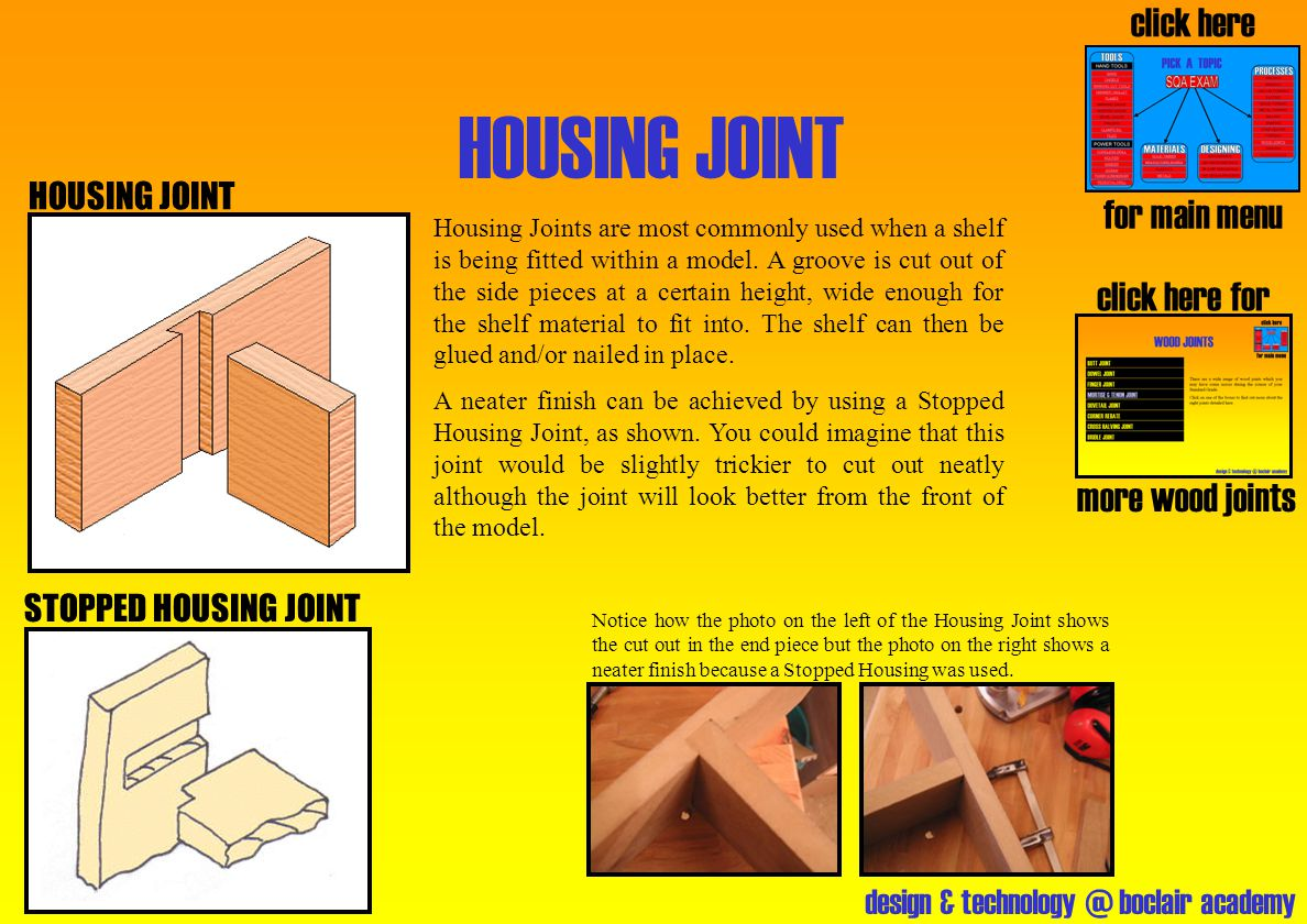 HOUSING JOINT click here for main menu click here for more wood joints