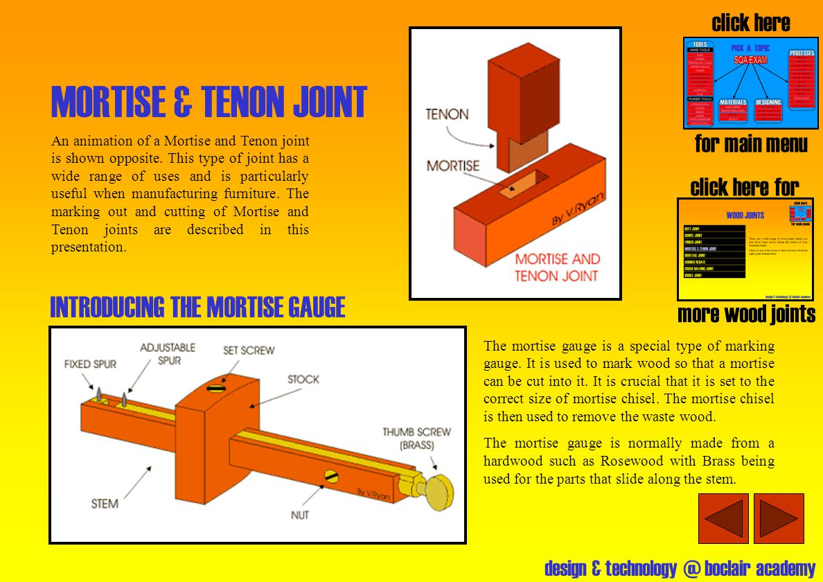 MORTISE & TENON JOINT INTRODUCING THE MORTISE GAUGE click here