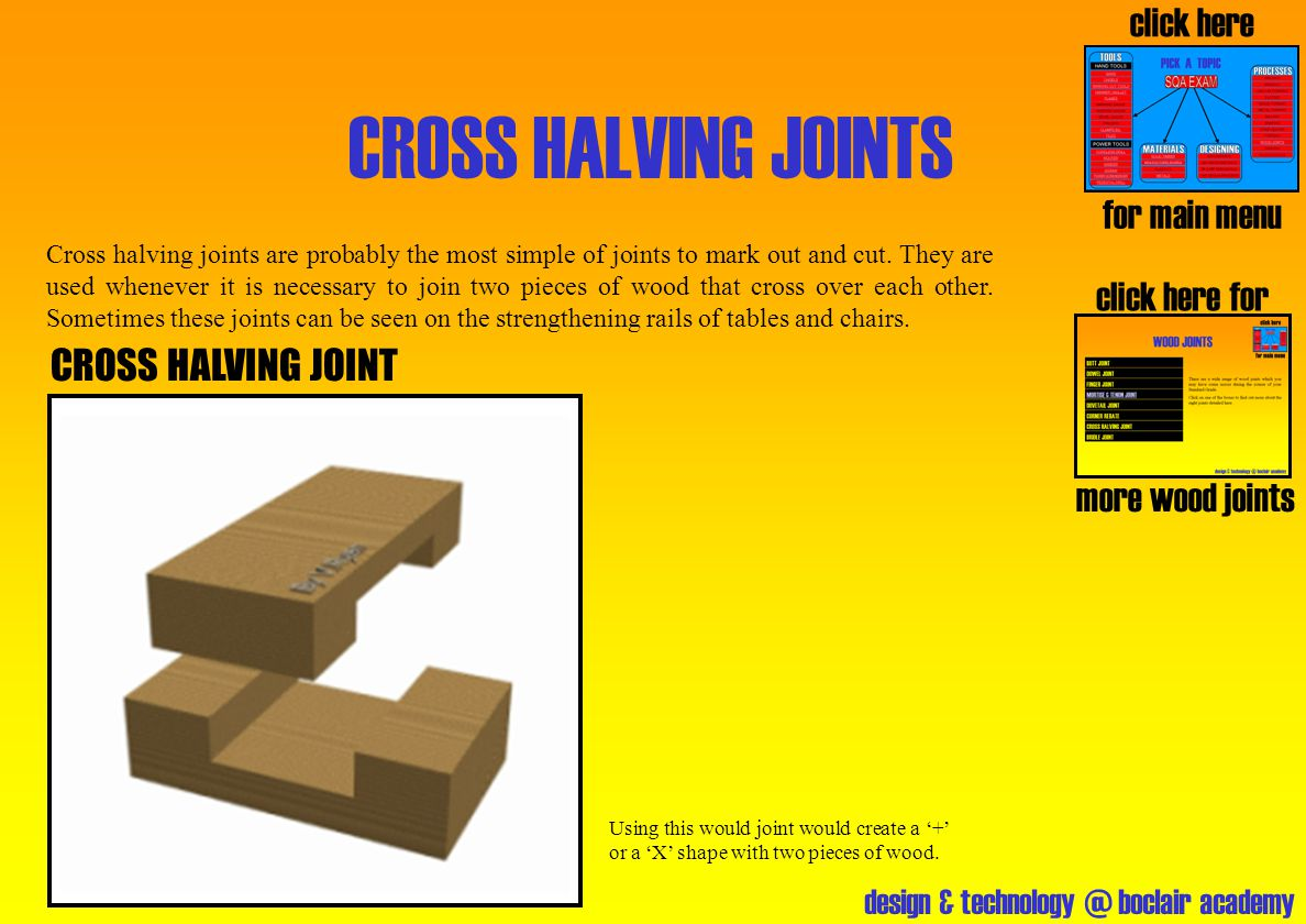 CROSS HALVING JOINTS click here for main menu click here for