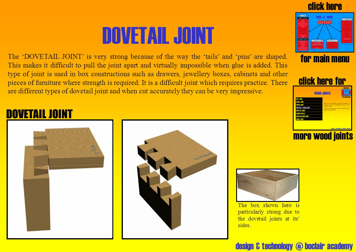 DOVETAIL JOINT click here for main menu click here for DOVETAIL JOINT