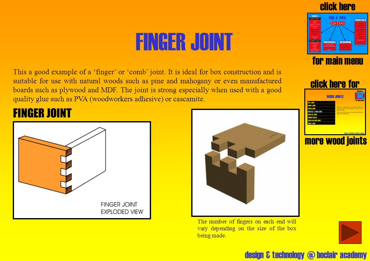 FINGER JOINT click here for main menu click here for FINGER JOINT