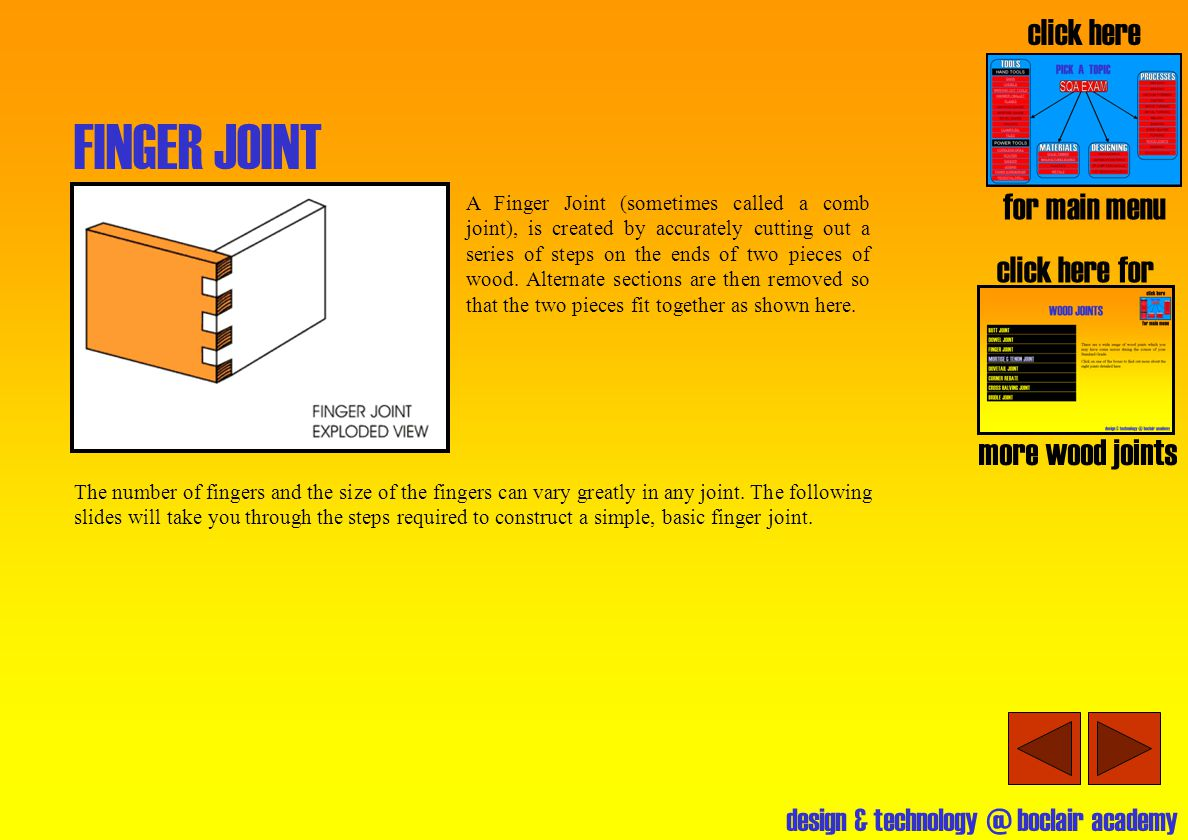 FINGER JOINT click here for main menu click here for more wood joints