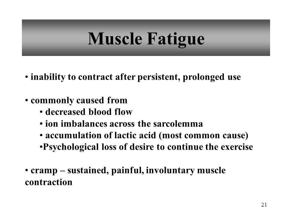 Muscle Fatigue inability to contract after persistent, prolonged use