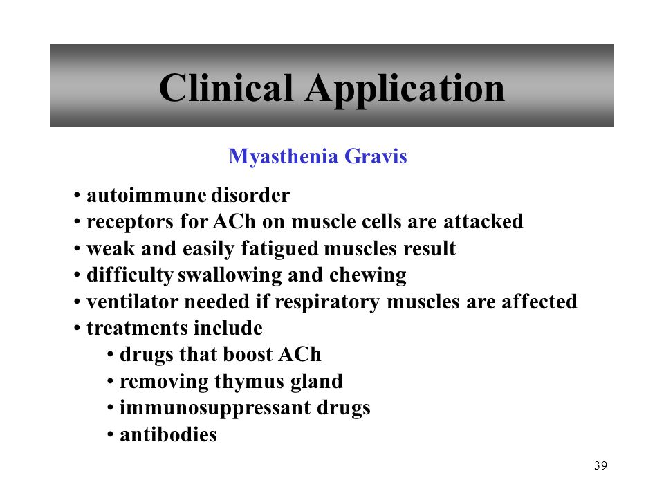 Clinical Application Myasthenia Gravis autoimmune disorder