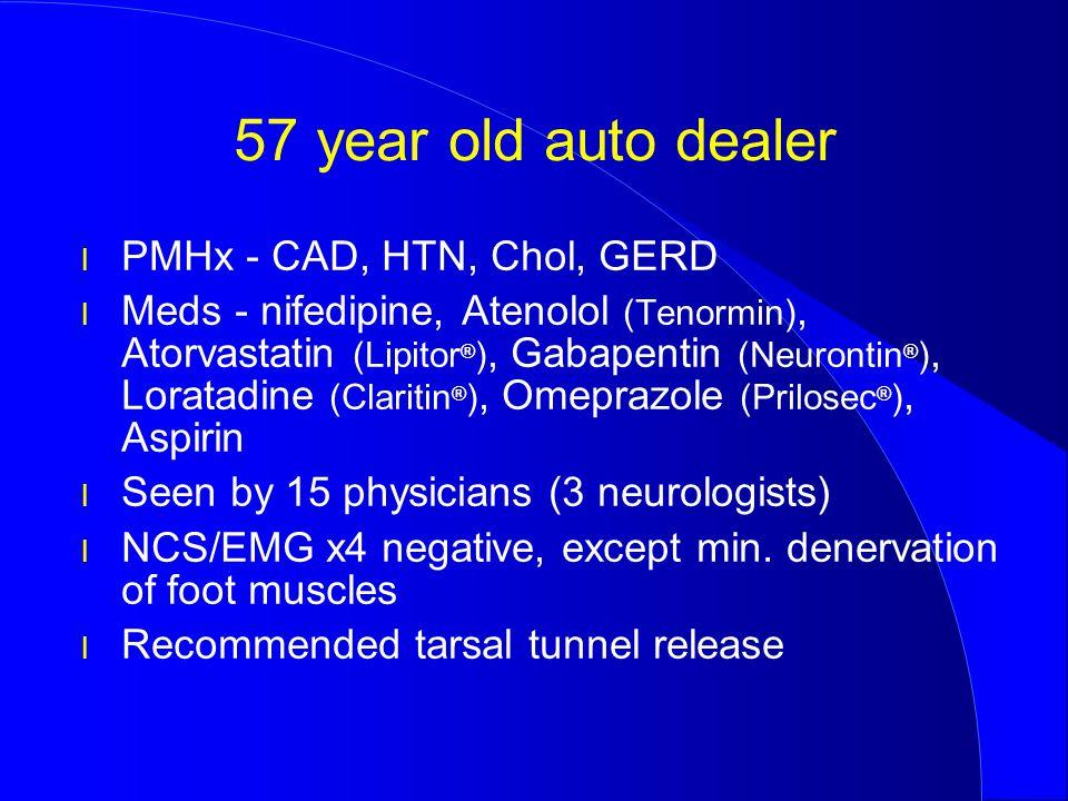 57 year old auto dealer PMHx - CAD, HTN, Chol, GERD