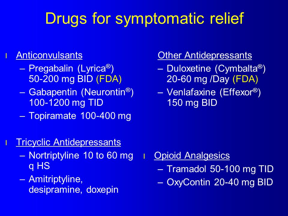 Drugs for symptomatic relief