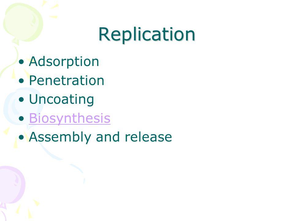 Replication Adsorption Penetration Uncoating Biosynthesis