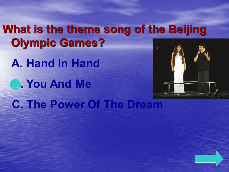 What is the theme song of the Beijing Olympic Games