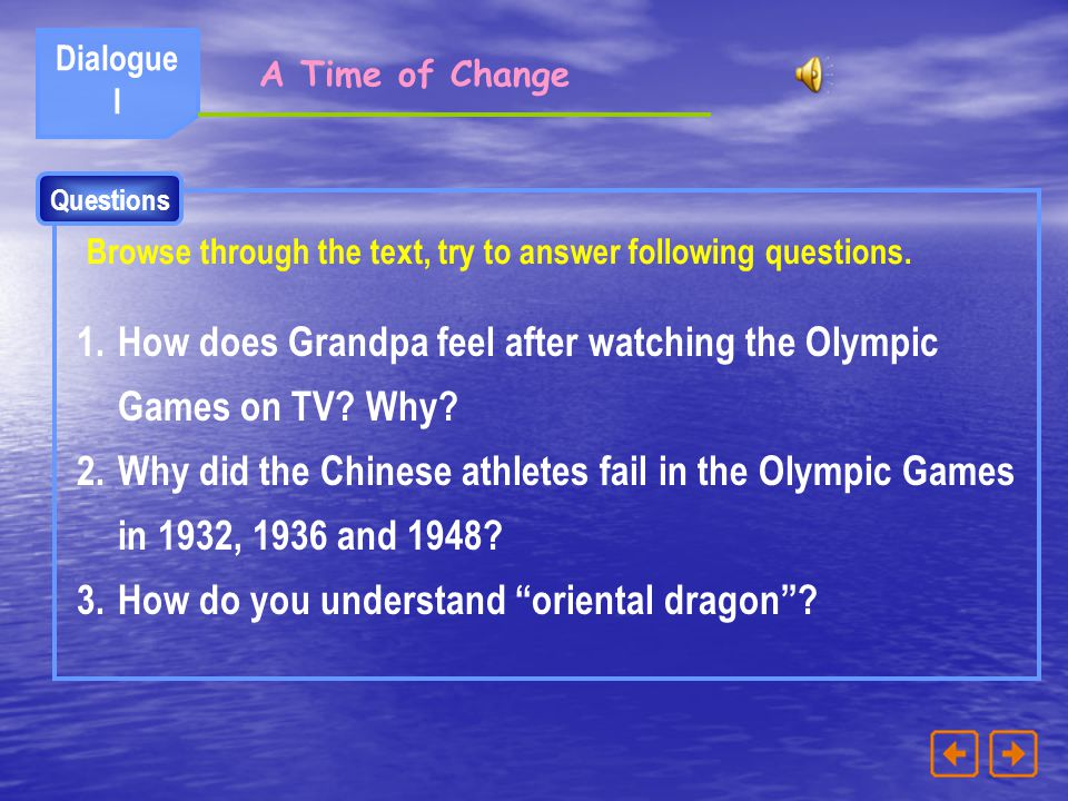 How does Grandpa feel after watching the Olympic Games on TV Why