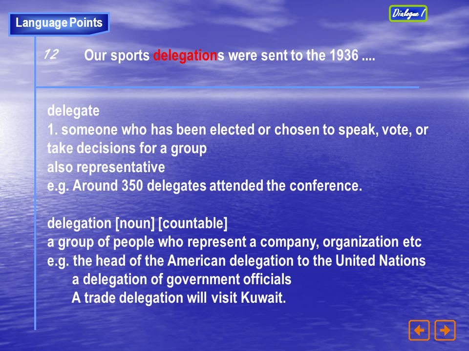 12 Our sports delegations were sent to the 1936 .... delegate