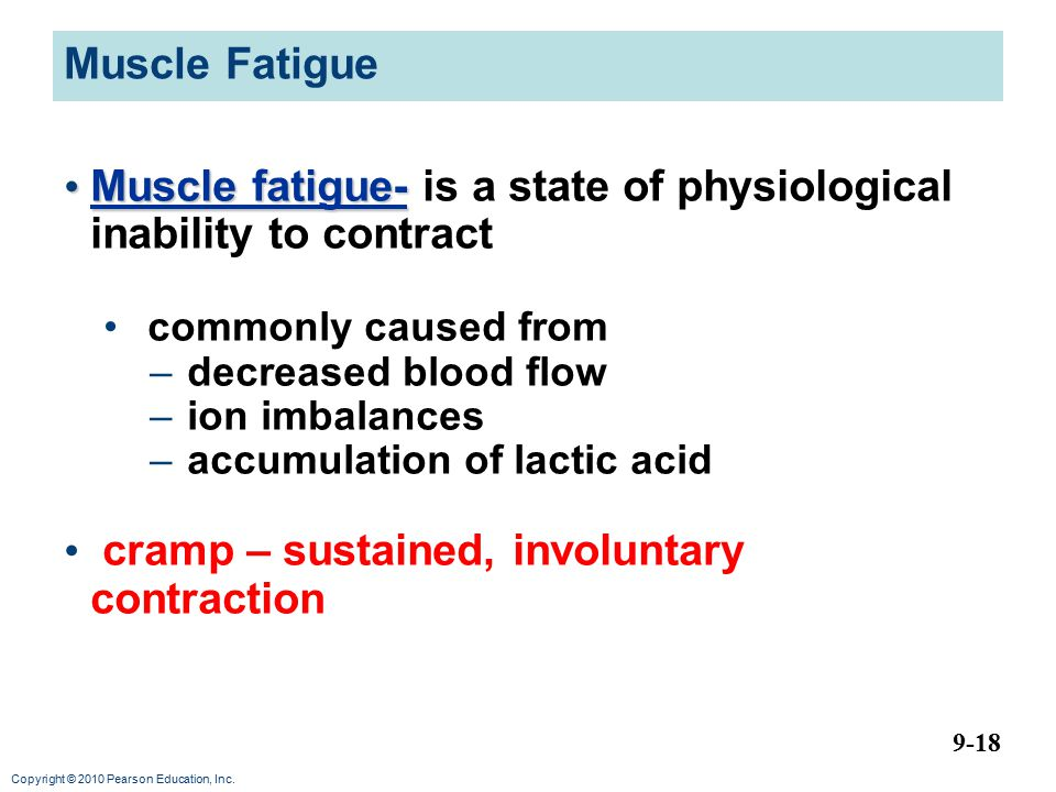 Muscle fatigue- is a state of physiological inability to contract