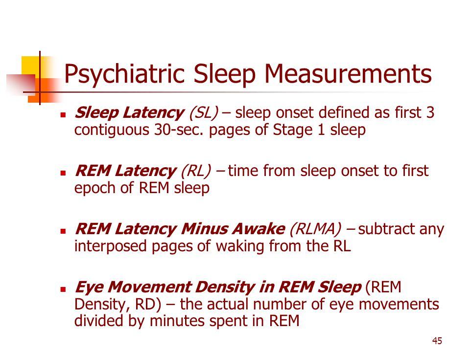 Psychiatric Sleep Measurements
