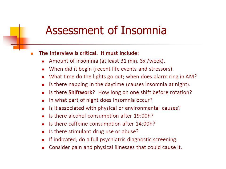 Assessment of Insomnia