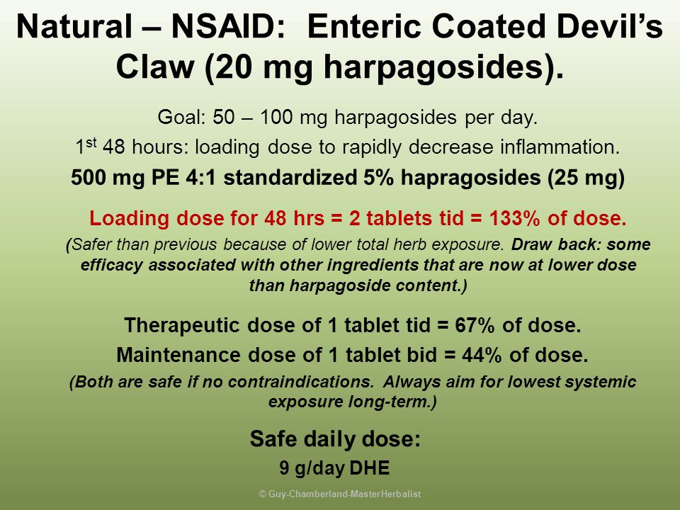 Natural – NSAID: Enteric Coated Devil's Claw (20 mg harpagosides).