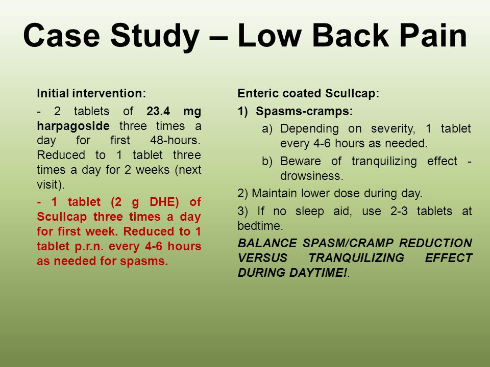 Case Study – Low Back Pain