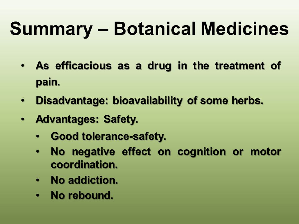 Summary – Botanical Medicines