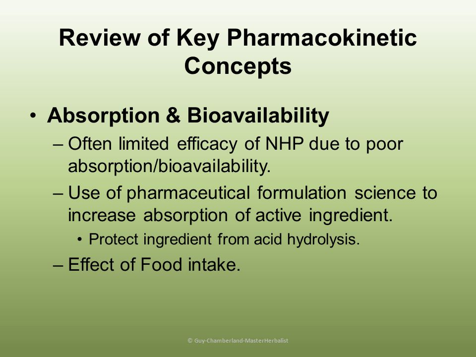 Review of Key Pharmacokinetic Concepts