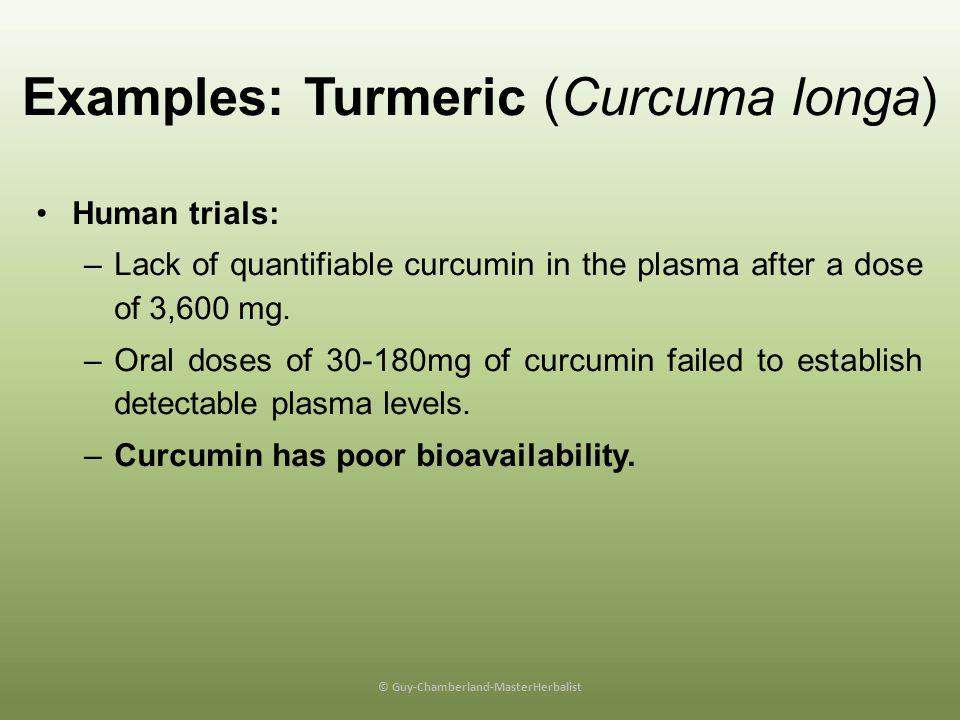 Examples: Turmeric (Curcuma longa)