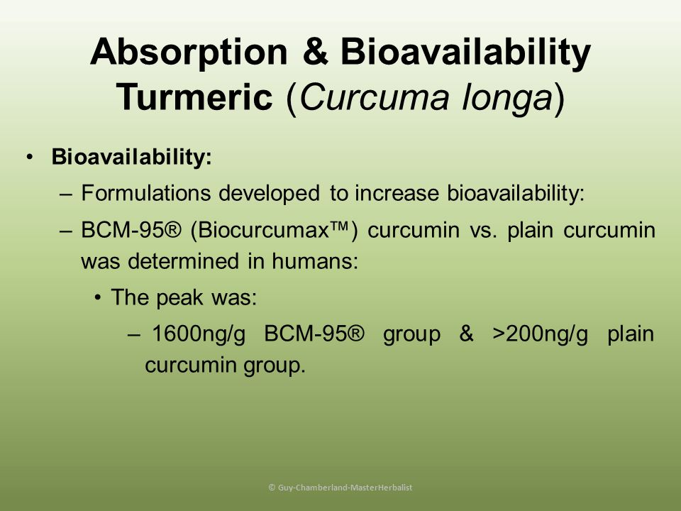 Absorption & Bioavailability Turmeric (Curcuma longa)