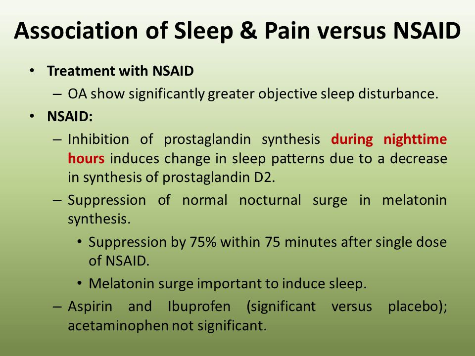 Association of Sleep & Pain versus NSAID