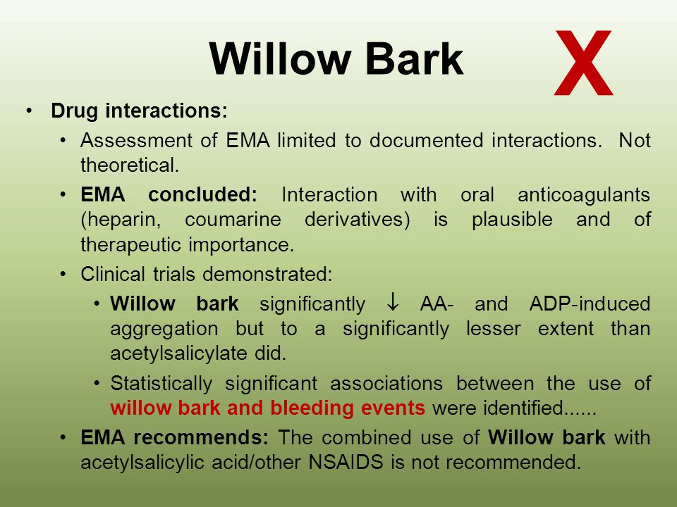 X Willow Bark Drug interactions: