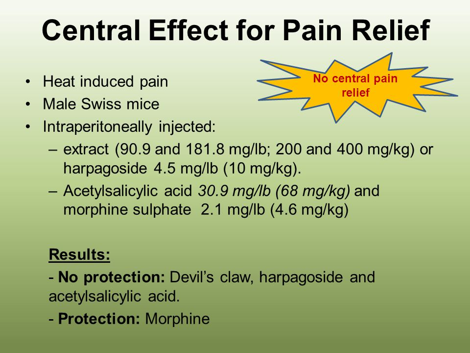 Central Effect for Pain Relief