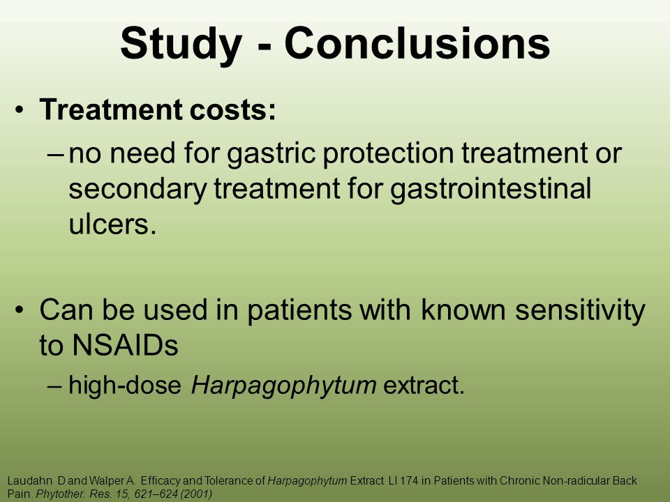 Study - Conclusions Treatment costs:
