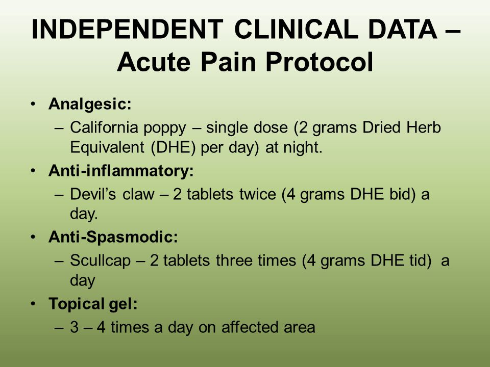 INDEPENDENT CLINICAL DATA – Acute Pain Protocol