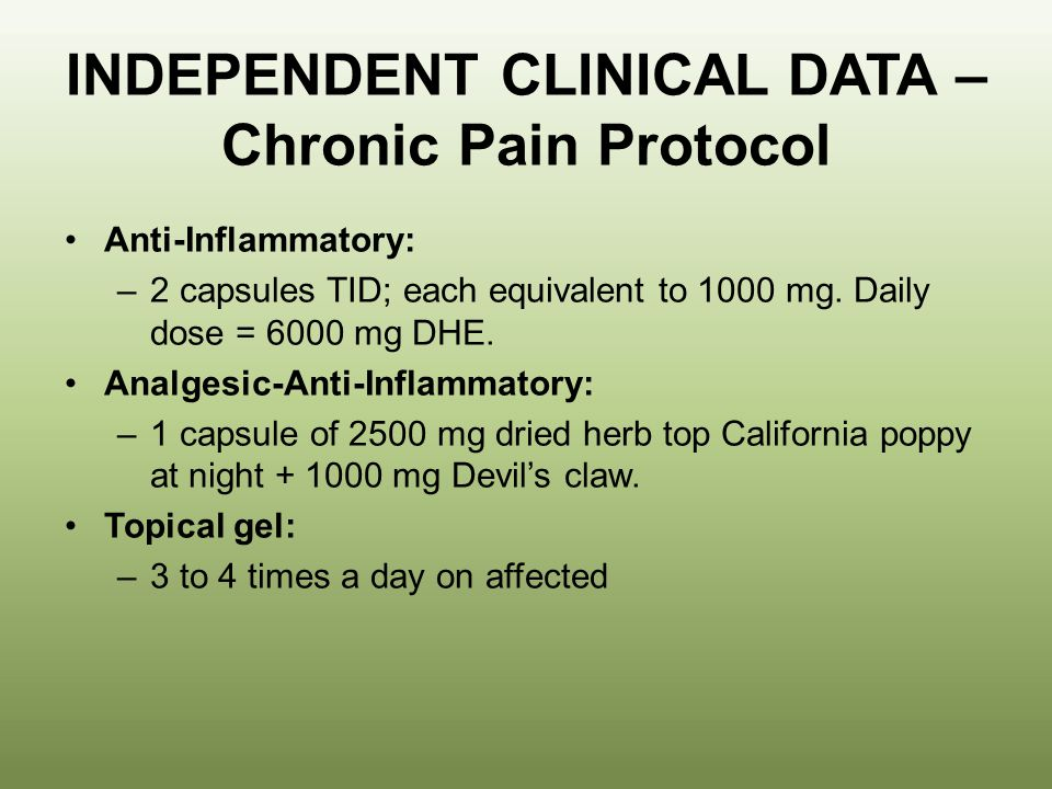 INDEPENDENT CLINICAL DATA – Chronic Pain Protocol