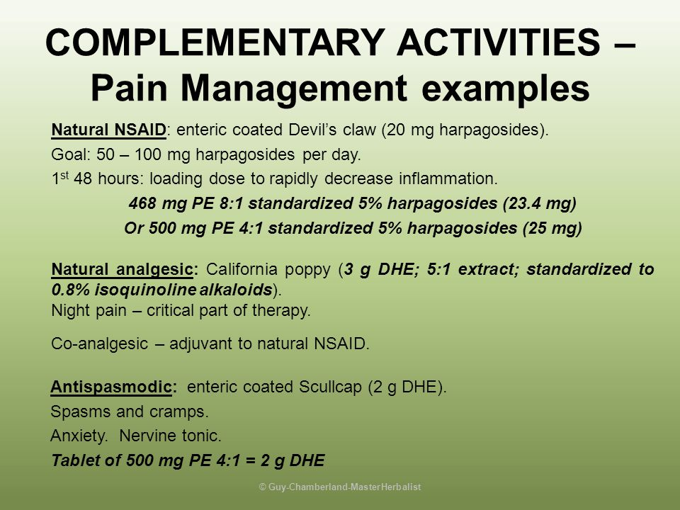 COMPLEMENTARY ACTIVITIES – Pain Management examples