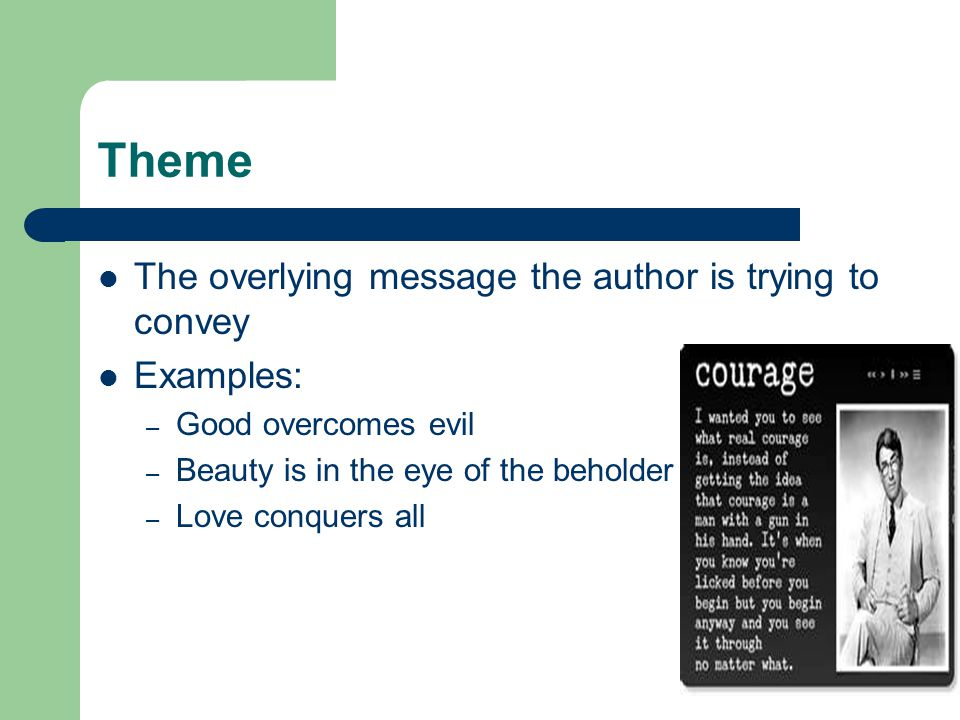 Theme The overlying message the author is trying to convey Examples: