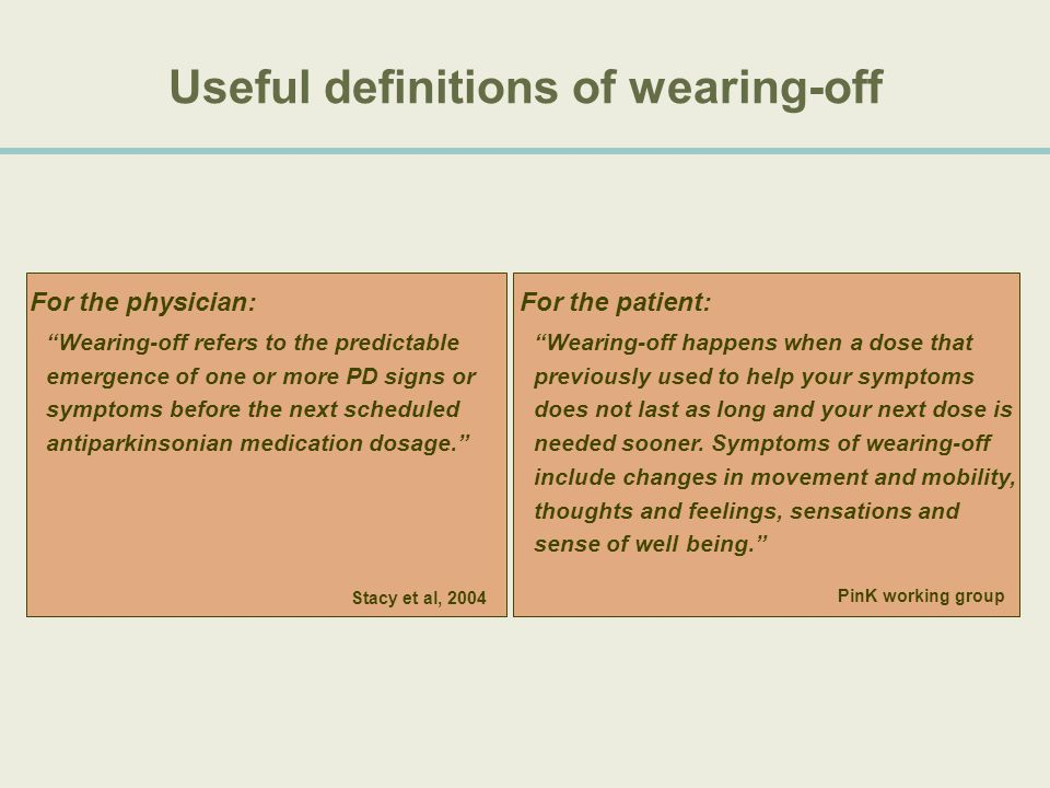 Useful definitions of wearing-off