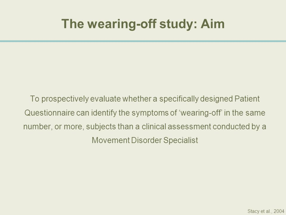 The wearing-off study: Aim