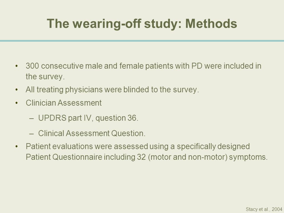 The wearing-off study: Methods