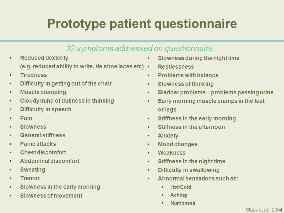 Prototype patient questionnaire