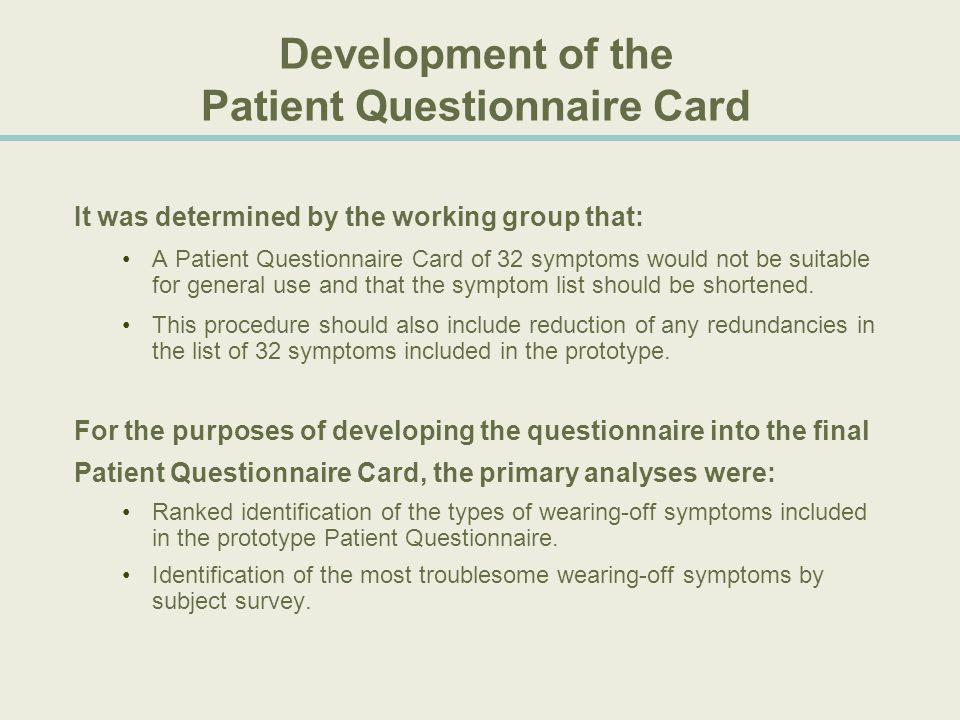 Development of the Patient Questionnaire Card