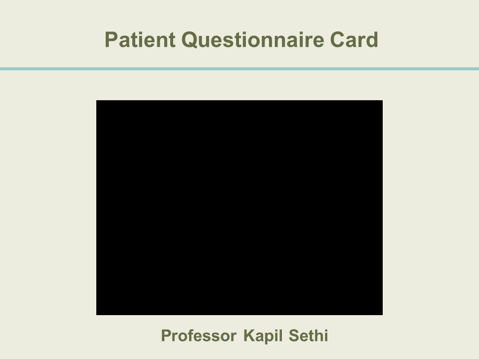 Patient Questionnaire Card