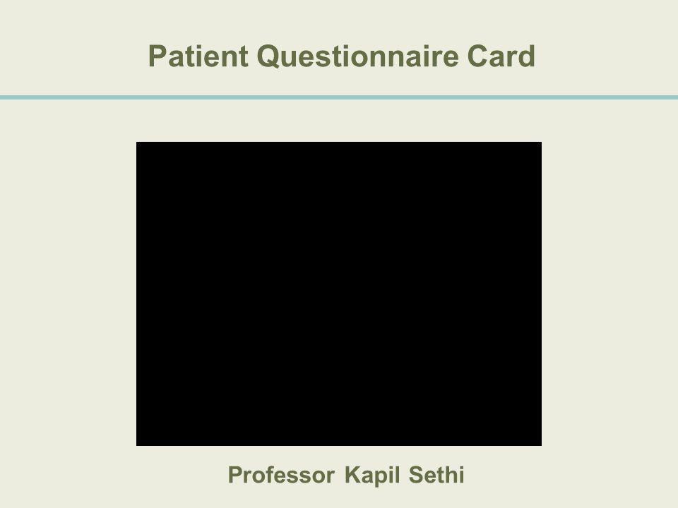Patient Questionnaire Card