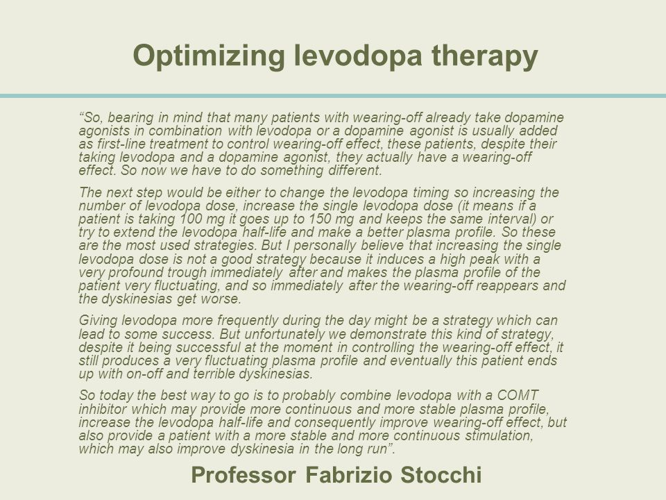 Optimizing levodopa therapy
