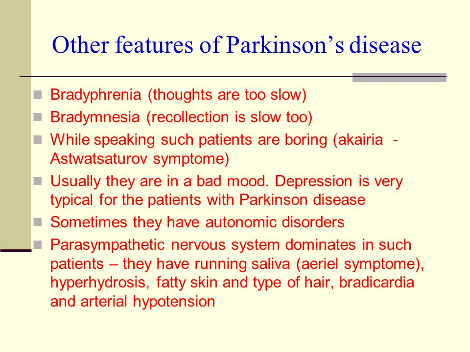 Other features of Parkinson's disease