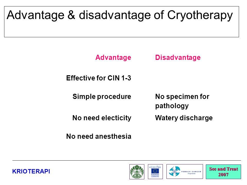 Advantage & disadvantage of Cryotherapy